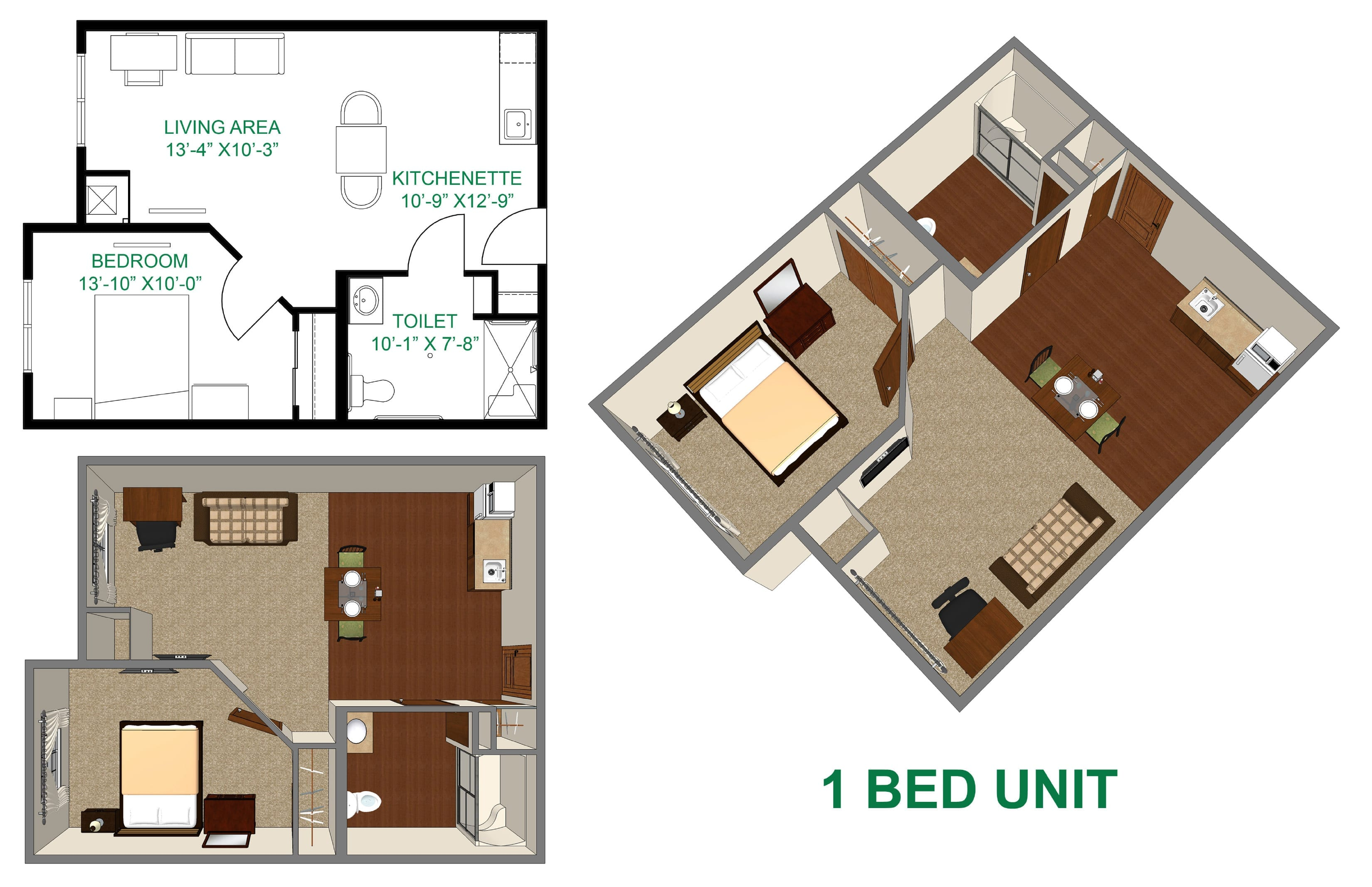 The Village at Skyline Pines assisted living 1 bedroom layout