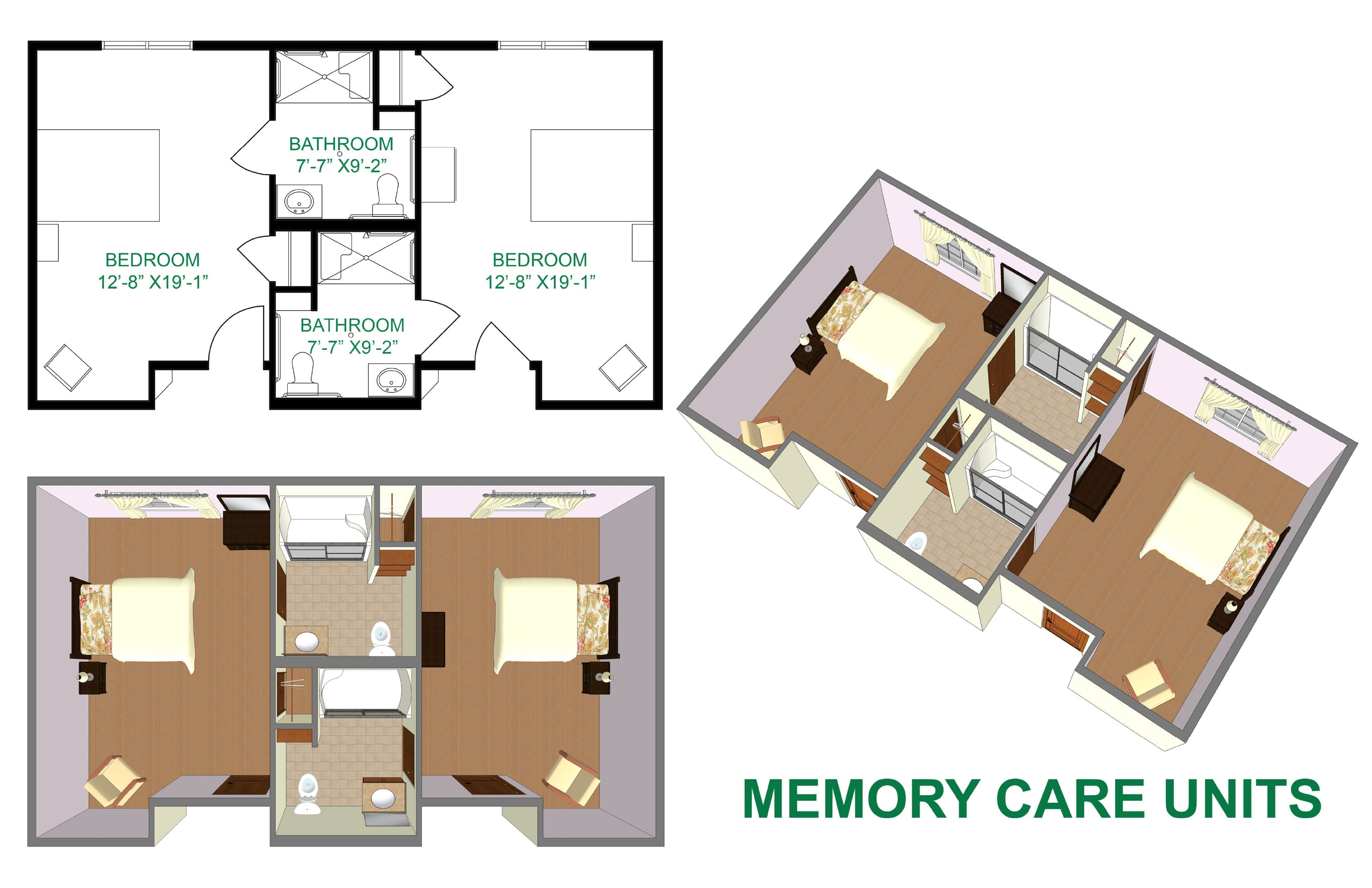 The Village at Skyline Pines memory care room layout