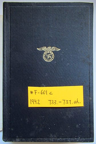 """1930-1943 PEOPLE'S EDITIONS OF ADOLF HITLERS """"MEIN KAMPF"""" F-601c"""