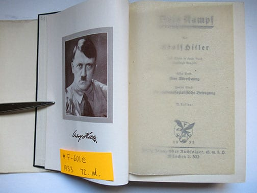 """1930-1943 PEOPLE'S EDITIONS OF ADOLF HITLERS """"MEIN KAMPF"""" F-601e"""