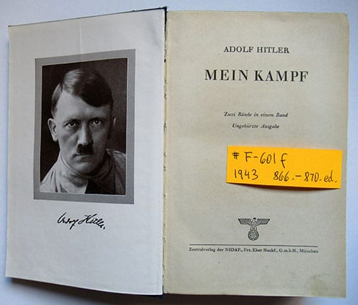"1930-1943 PEOPLE'S EDITIONS OF ADOLF HITLERS ""MEIN KAMPF"" F-601f"
