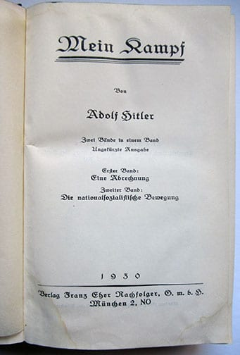 "1930-1943 PEOPLE'S EDITIONS OF ADOLF HITLERS ""MEIN KAMPF"" F-601g"