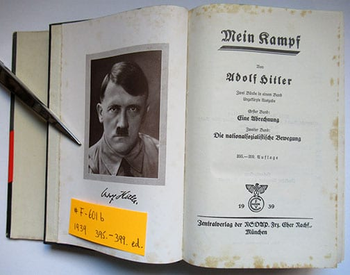 """1930-1943 PEOPLE'S EDITIONS OF ADOLF HITLERS """"MEIN KAMPF"""" F-601b"""