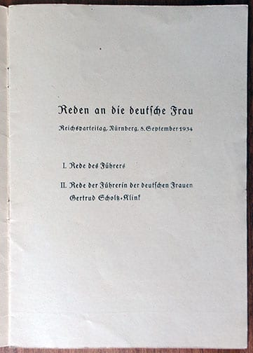 1934 NÜRNBERG PARTY DAY SPEECHES BOOK