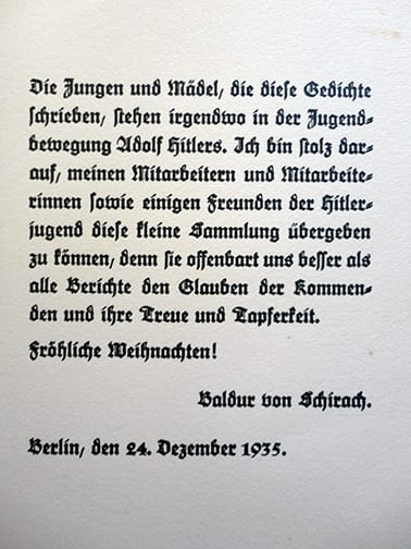 1935 CHRISTMAS GIFT OF THE HITLER YOUTH LEADER
