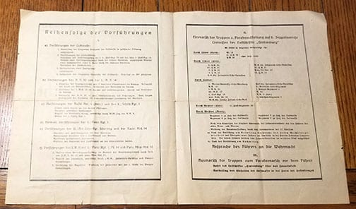 1936 REICH PARTY DAYS 'ARMY DAY' PROGRAMME