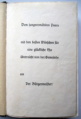 "1937-1943 WEDDING EDITIONS OF ADOLF HITLERS ""MEIN KAMPF"" F-602d"