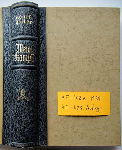 "1937-1943 WEDDING EDITIONS OF ADOLF HITLERS ""MEIN KAMPF"" F-602e"