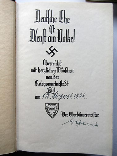 "1937-1943 WEDDING EDITIONS OF ADOLF HITLERS ""MEIN KAMPF"" F-602h"