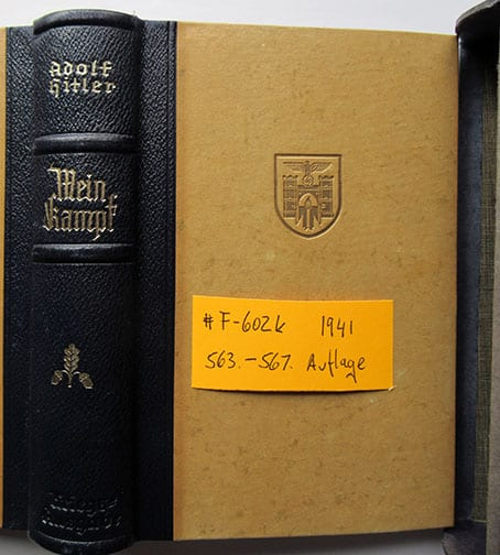 "1937-1943 WEDDING EDITIONS OF ADOLF HITLERS ""MEIN KAMPF"" F-602k"