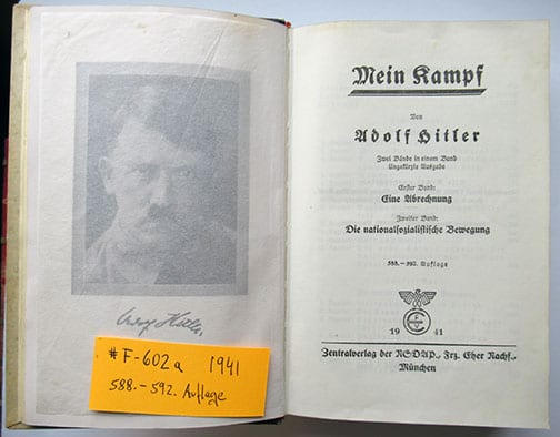 "1937-1943 WEDDING EDITIONS OF ADOLF HITLERS ""MEIN KAMPF"" F-602a"
