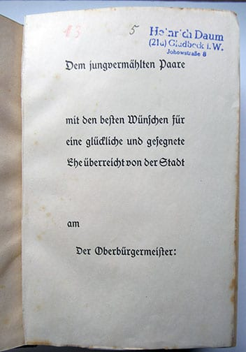 "1937-1943 WEDDING EDITIONS OF ADOLF HITLERS ""MEIN KAMPF"" F-602b"