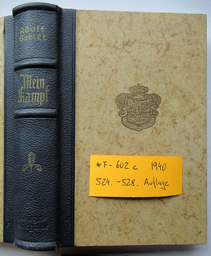 "1937-1943 WEDDING EDITIONS OF ADOLF HITLERS ""MEIN KAMPF"" F-602c"