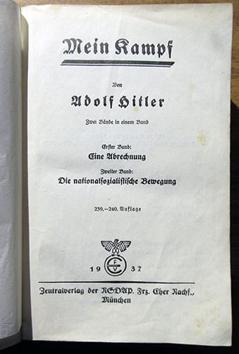 "1937 PEOPLE'S EDITION OF ADOLF HITLERS ""MEIN KAMPF"""