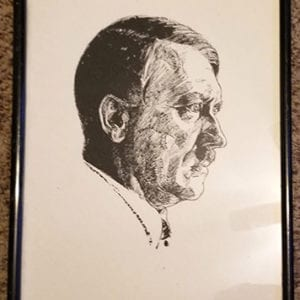 1938 ADOLF HITLER PRINT IN ITS ORIGINAL FRAME
