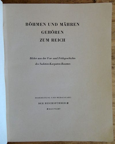 1939 SS PHOTO BOOK ON ANCIENT CIVILIZATIONS IN BOHEMIA AND MORAVIA