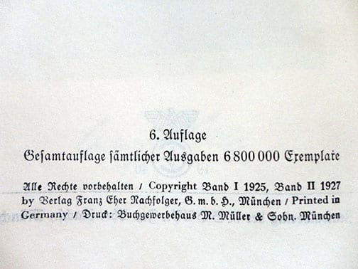 """1940 BACKPACK EDITION """"MEIN KAMPF"""" CONVERTED TO A WEDDING EDITION"""