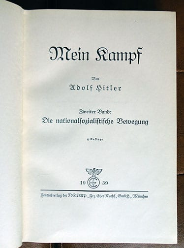 """1934-1939 TWO VOLUME SPECIAL EDITION OF ADOLF HITLERS """"MEIN KAMPF"""" d"""