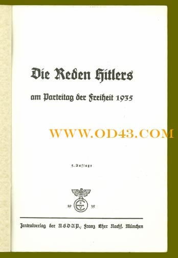 3 BOOKS WITH HITLER SPEECHES HELD AT THE REICH PARTY DAYS