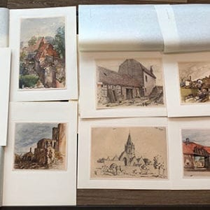 1936 H.HOFFMANN PORTFOLIO WITH ADOLF HITLER WATERCOLORS
