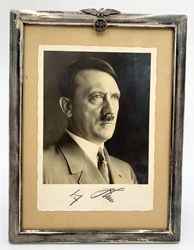 ADOLF HITLER SIGNED POSTCARD IN EARLY NAZI SILVER FRAME