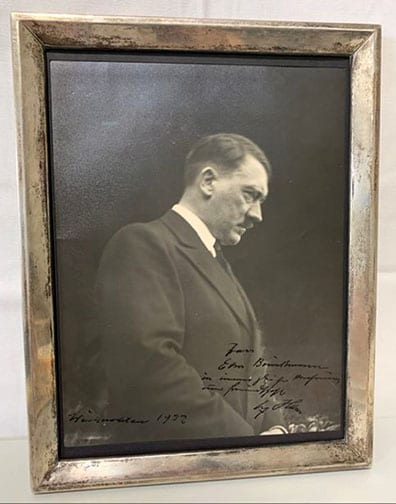 1932 ADOLF HITLER DEDICATED AND SIGNED PHOTO IN PERIOD SILVER FRAME