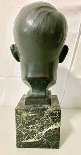 ADOLF HITLER BRONZE BUST ON ORIGINAL MARBLE BASE