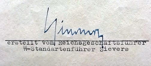 DOCUMENT TO HIMMLER SIGNED BY THE SS-AHNENERBE DIRECTOR SIEVERS
