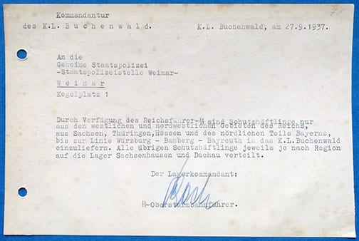 1937 DOCUMENT SIGNED BY THE COMMANDANT OF BUCHENWALD
