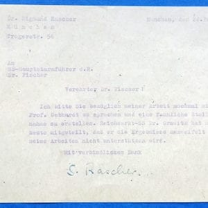 DOCUMENT SIGNED BY CONCENTRATION CAMP DOCTOR SIGMUND RASCHER