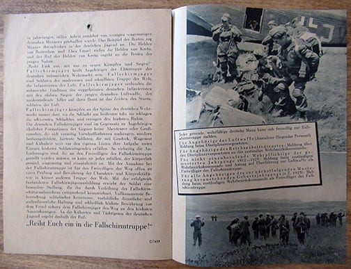 NAZI PARATROOPER RECRUITING PAMPHLET