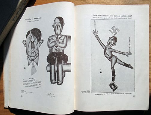 (1935) BOOK WITH ANTI-HITLER CARTOONS IN THE WORLD PRESS