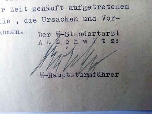 1943 DOCUMENT SIGNED BY MENGELE'S BOSS IN AUSCHWITZ, Dr. EDUARD WIRTHS
