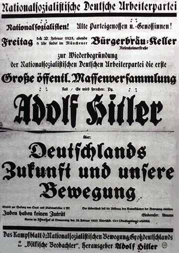 "Invitation to a ""Re-Establishment"" of the Nazi party with Adolf Hitler as the speaker, 27 February 1925, Munich, Bürgerbräukeller"