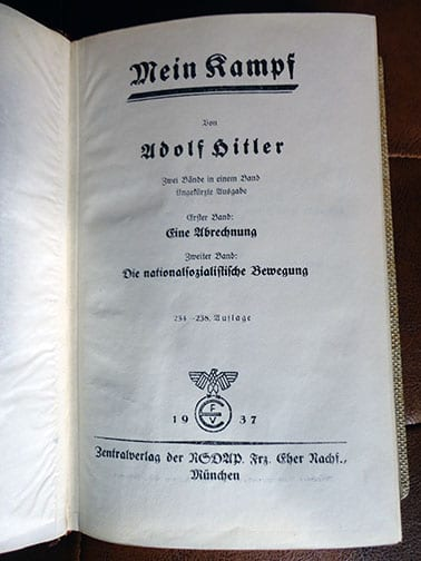 """PRIVATE OR LIBRARY BINDINGS OF ADOLF HITLERS """"MEIN KAMPF"""" (2) a"""