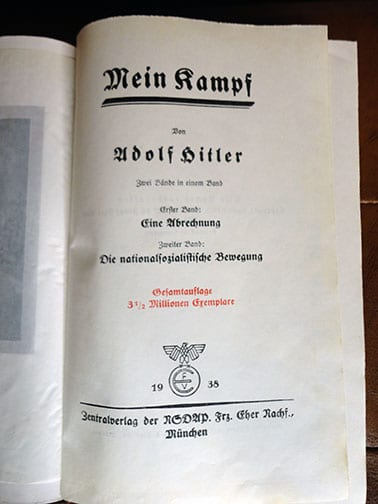 """PRIVATE OR LIBRARY BINDINGS OF ADOLF HITLERS """"MEIN KAMPF"""" (1) b"""