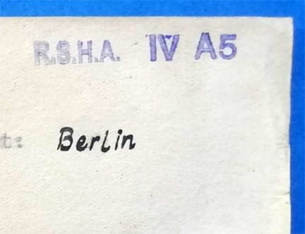 INDEX-CARD RSHA IV A5 OFFICE HEAD WALTER JAGUSCH