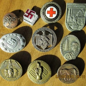 LOT OF TEN (10) ORIGINAL THIRD REICH BADGES