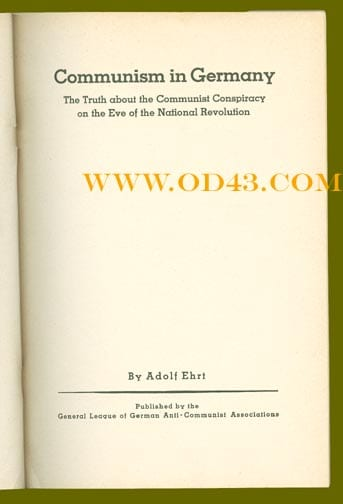 1933 THIRD REICH BOOK ON COMMUNISTS IN ENGLISH LANGUAGE