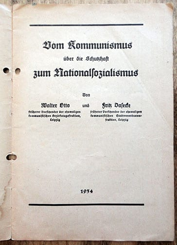 PAMPHLET ON COMMUNISTS WHO CONVERTED TO NATIONAL SOCIALISM