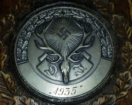 1935 THIRD REICH HUNTING PLAQUE