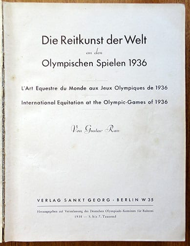 1937 PHOTO BOOK ON HORSE RIDING AT THE 1936 OLYMPICS