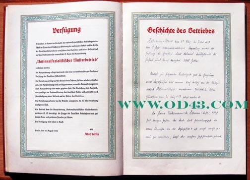 1937 D.A.F. HONOR BOOK FOR NAZI MODEL FACTORIES