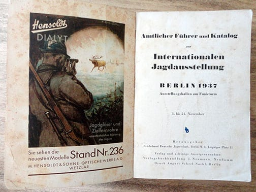 1937 NAZI HUNTING EXHIBITION IN BERLIN CATALOG
