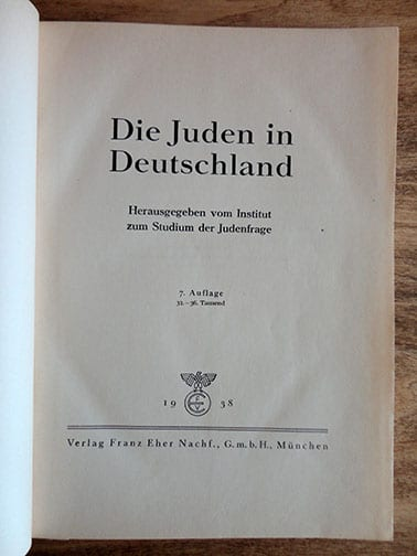 1938 NAZI YEARBOOK ON JEWS IN GERMANY