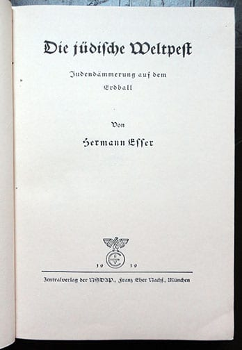 1939 BOOK BY EARLY NAZI AND JEW HATER HERMANN ESSER