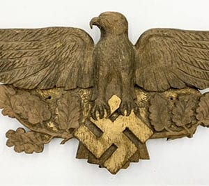 CARVED ORIGINAL 1940 THIRD REICH EAGLE WITH SWASTIKA