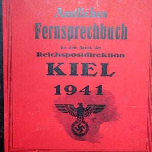 1941 THIRD REICH PHONEBOOK OF KIEL & SURROUNDINGS