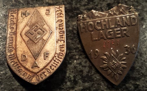 SET OF TWO ORIGINAL THIRD REICH HITLER YOUTH TINNIES
