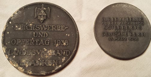 LOT OF TWO ORIGINAL THIRD REICH TABLE MEDALS